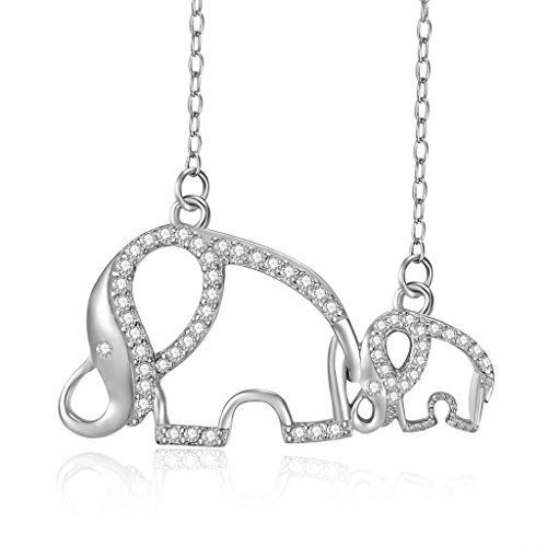 awesome Sterling Silver Rhodium Plated Cubic Zirconia Mother and Child Elephant Chain Necklace, 18""
