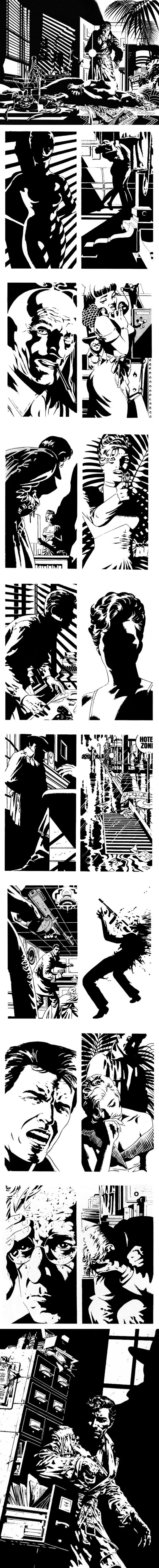 """Selection of panels and plates from Jim Steranko's Raymond Chandler story, """"Red Tide""""."""