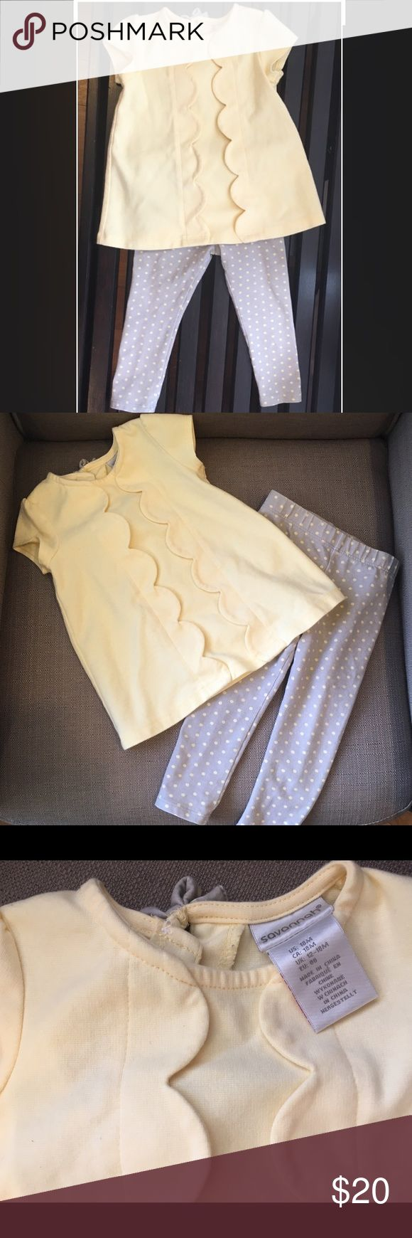 Super Cute Scalloped Yellow Top and Dot Pants 18 M LIKE NEW (Worn ONE time, perfect condition) Absolutely Adorable Two-Piece 18 Months Outfit, Swing Top and Leggings Pants. Perfect for Spring! LOVE this and sad it doesn't fit anymore. So pretty! Savannah Matching Sets