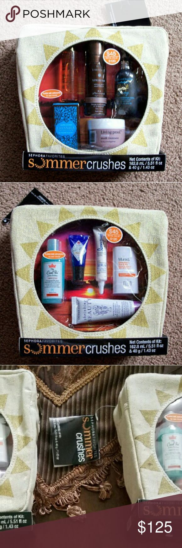TWO SETS of Sephora Favorites Summer Crushes Kits The Sephora Summer Crushes Kit (QUANTITY OF TWO) are new and sealed. Each large travel bag kit includes: *Caudalie Divine Oil *Vita Liberata pHenomenal Tan Mousse in Medium *Minature Tanning Glove *Bumble and Bumble Surf Spray *Lavinila The Healthy Fragrance in Vanilla Coconut *Living Proof Restore Mask Treatment *Shaveworks The Cool Fix *Jack Black Intense Therapy Lip Balm in SPF 25in Shea Bin Shea Butter and Vitamin E *Supergoop! City…