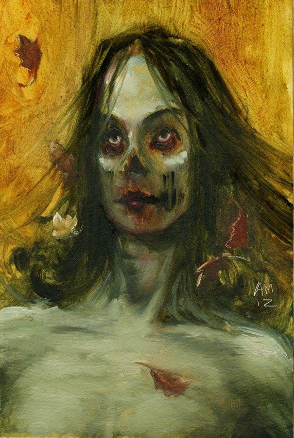 Fall Zombie | oil on board | 4x6 | 2012 | Aaron Miller