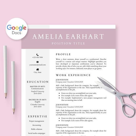Resume Template For Google Docs Cv Template Google Doc Etsy Resume Template Cv Template Downloadable Resume Template
