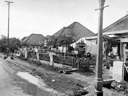 Internment camp in Jakarta, c. 1945  People of Dutch and mixed Dutch-Indonesian descent were particular targets of the Japanese occupation and were interned.