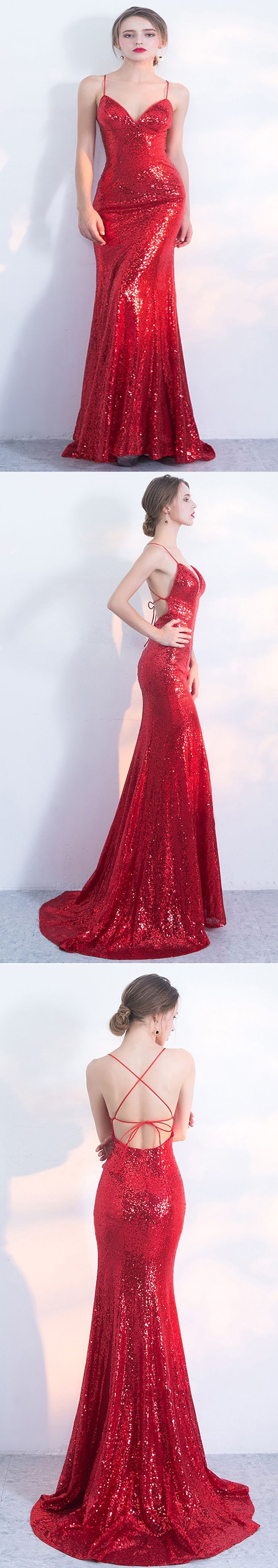 Sexy red mermaid prom dress, Sparkly sequins party dresses,PD210120