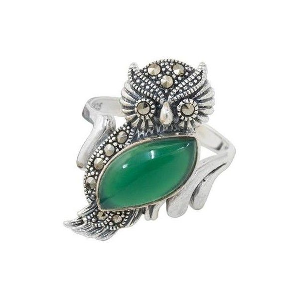 NOVICA Chalcedony and Marcasite Cocktail Ring with Owl Motif (1,845 PHP) ❤ liked on Polyvore featuring jewelry, rings, cocktail, metallic, marcasite ring, special occasion jewelry, green ring, green cocktail ring and animal print ring