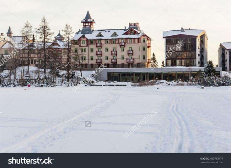 Strbske Pleso, Slovakia - February 15, 2014: Hotels on the frozen lake Strbske pleso in the High Tatras.