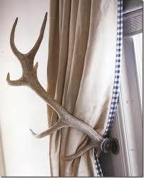 Antler curtain pull backs: Cabin, Idea, Boys Rooms, Antlers Curtains, House, Men Caves, Curtains Ties Back, Antlers Ties, Men Rooms