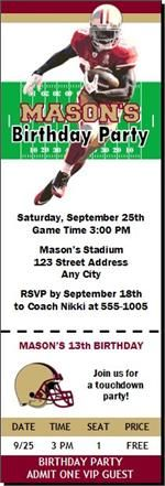 San Francisco 49ers Colored Football Birthday Party Ticket Invitations from PrintVilla.com