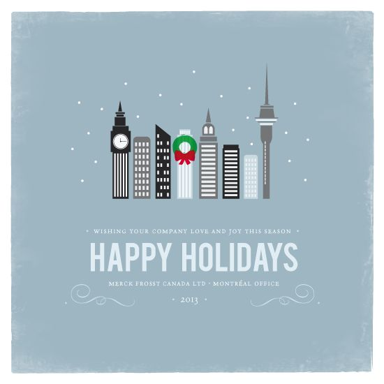 A simple winter illustrative cityscape with a building decorated with a holiday wreath.