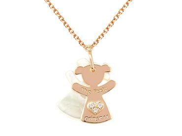 "#CadenaconColgante niña oro 18 Ktes con diamantes ""Pequeña Princesa"" Cadena y colgante niña oro 18 Ktes #JoséLuisJoyeroBasic"