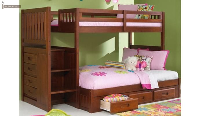 Buy Cheshire Bunk Bed With Storage (Dark Teak Finish) online in India with high quality from Wooden Street. Shop for a wide range of stylish bunk beds online that are available in different sizes and styles to satisfy all your needs in the best possible way. Visit : https://www.woodenstreet.com/bunk-beds