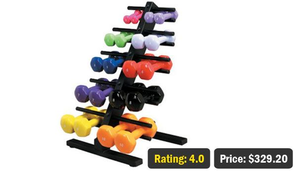 CanDo Vinyl Coated Dumbbell Set with Rack for Sale