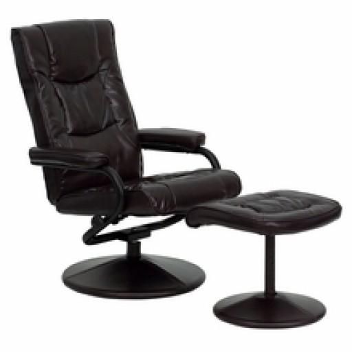 Contemporary Brown Leather Recliner & Ottoman #luxurychair
