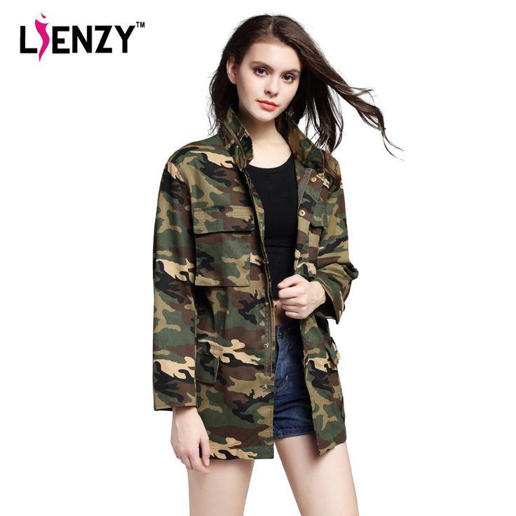 LIENZY 2016 Lente Amerikaanse Camouflage Jas Militaire Vermoeienissen Herstellen Pocket Stand Hals Lange Vrouwen Jas Met Knop Rits