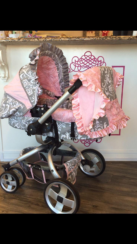 Custom JJ Cole Broadway Stroller Cover. Light pink pintuck