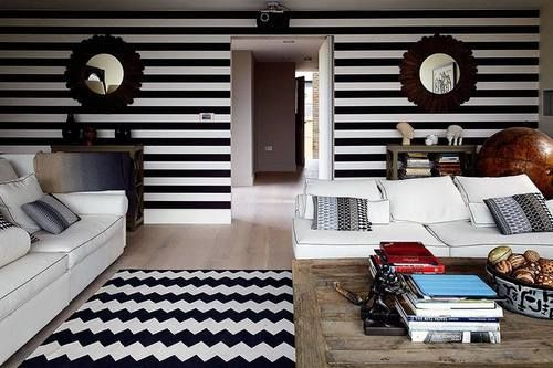 There are horizontal lines on the wall paper and the are ...