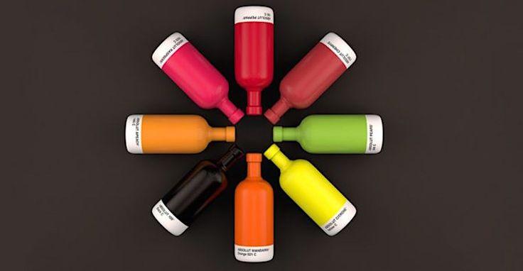 Absolute Farben treffen auf absoluten Geschmack: Pantone taucht Wodka-Flaschen in passende Farbhüllen  Welche Farbe passt zu welchem Geschmack? Darauf gibt die Kombination von Absolut-Wodka und absoluten Pantone-Farben eine Antwort. Neben so naheliege...