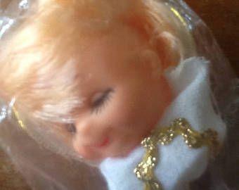"""No. 1 1/4"""" angel plástico cabeza de la muñeca con alas, embarcaciones de fibra, fabricación de muñecas, manualidades de Navidad"""