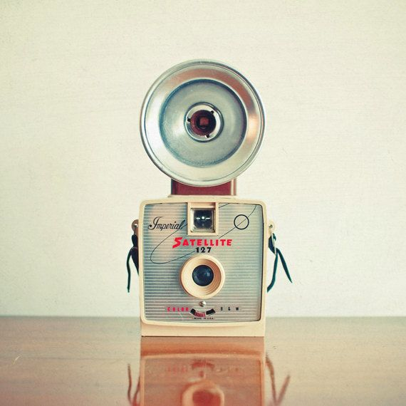 Satellite - Camera photography, mid century, retro wall art, neutral colors, living room decor