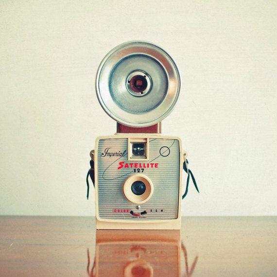 Satellite - Camera photography, mid century, retro wall art, neutral colors, living room decor