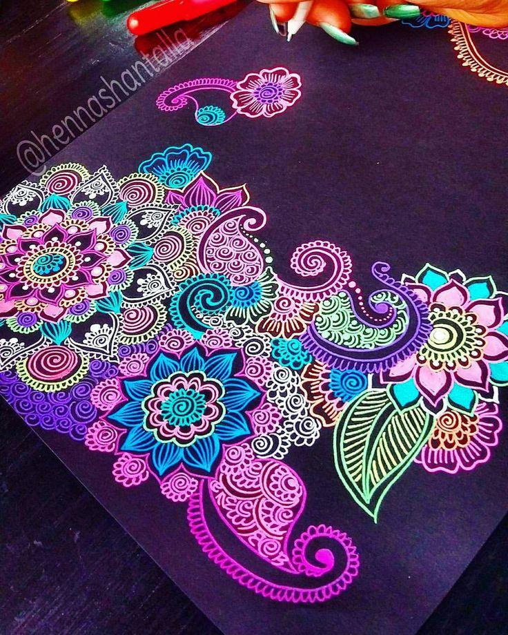 "937 Likes, 21 Comments - Henna Tattoo Santo Domingo🎨 (@artbyshantall) on Instagram: ""Good night!💓 Materials ✳Black Paper -> Derwent A4 ✳Pens -> Gelly Roll Moonlight All materials…"""