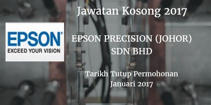 Jawatan Kosong EPSON PRECISION (JOHOR) SDN BHD Januari 2017  EPSON PRECISION (JOHOR) SDN BHD mencari calon-calon yang sesuai untuk mengisi kekosongan jawatan EPSON PRECISION (JOHOR) SDN BHD terkini 2017.  Jawatan Kosong EPSON PRECISION (JOHOR) SDN BHD Januari 2017  Warganegara Malaysia yang berminat bekerja di EPSON PRECISION (JOHOR) SDN BHD dan berkelayakan dipelawa untuk memohon sekarang juga. TEMUDUGA TERBUKA Tarikh: ISNIN - KHAMIS Masa: 8.30 pagi  1.00 petang Lokasi Temuduga:EPSON PRECISION (JOHOR) SDN BHDNo 31 & 31 A Jalan Kempas Baru 81200 Johor Bahru Jawatan Kosong EPSON PRECISION (JOHOR) SDN BHD Terkini Januari 2017 : JR TECHNICIAN (CALIBBRATION) SIJIL KEMAHIRAN 'CALIBRATION & (CALIBRATION) INSTRUMENTATION atau yang berkenaan Pengetahuan menggunakan slat ukur mekanikal - mikrometer dail tolok profit projektor mikroskop Pendedahan asas piawaian ISO 9001 dan Boleh memahami lukisan kejuruteraan PROD OPERATOR SPM/ STPM (LELAKI) Berumur 28 tahun ke bawah Boleh bekerja shif bergilir QC OPERATOR SPM/ STPM (WANITA) Berumur 28 tahun ke bawah L Boleh bekerja shif dengan menggunakan mikroskop PLANNER DIPLOMA in any related field (MANDARIN SPEAKING) Proficiency in Mandarin Language (Spoken & Written) Familiar with Accounting software - SAP Keen interest in rapid follow up of high volume production planning and control co-ordination atau email resume anda ke : epj.recruitment@sep.epson.com.sg  via JobsJohor Jawatan Kosong Johor 2017 Johor