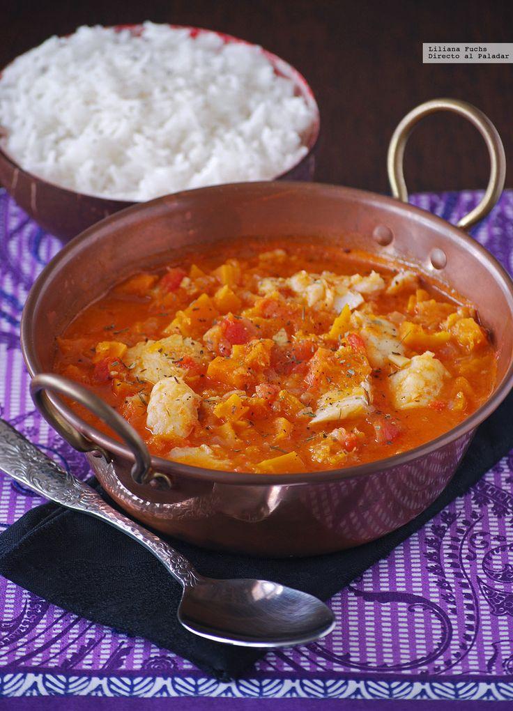 Receta de curry rojo de bacalao con calabaza. Con fotos del paso a paso, consejos y sugerencias de degustación. Recetas de pescados. Recetas de Semana Santa