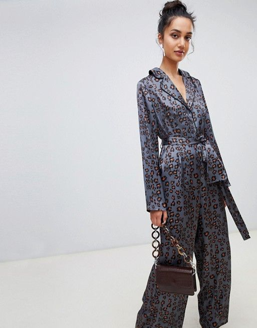 4d399eed46c5 Lost Ink jumpsuit with wrap tie waist in leopard in 2019