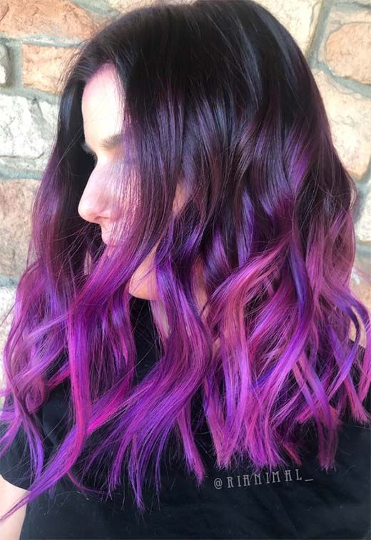 63 Purple Hair Color Ideas to Swoon Over: Violet & Purple Hair Dye Tips #color #…  – Hair