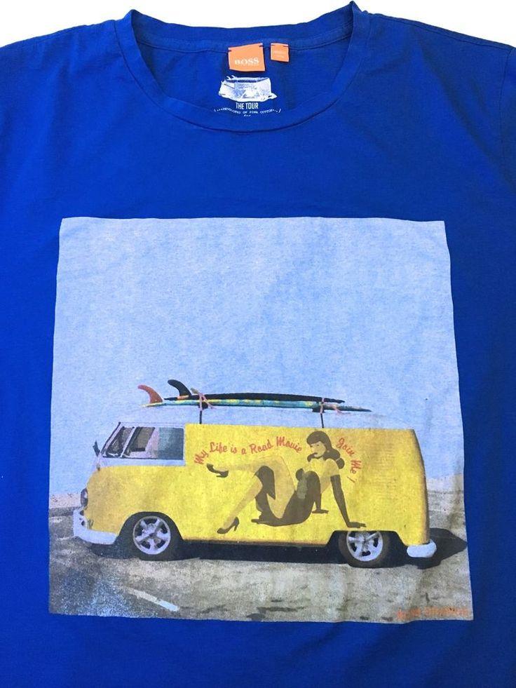 BOSS HUGO BOSS Orange The Tour Surf Graphic T-Shirt Blue Pima Cotton Slim Fit XL    eBay