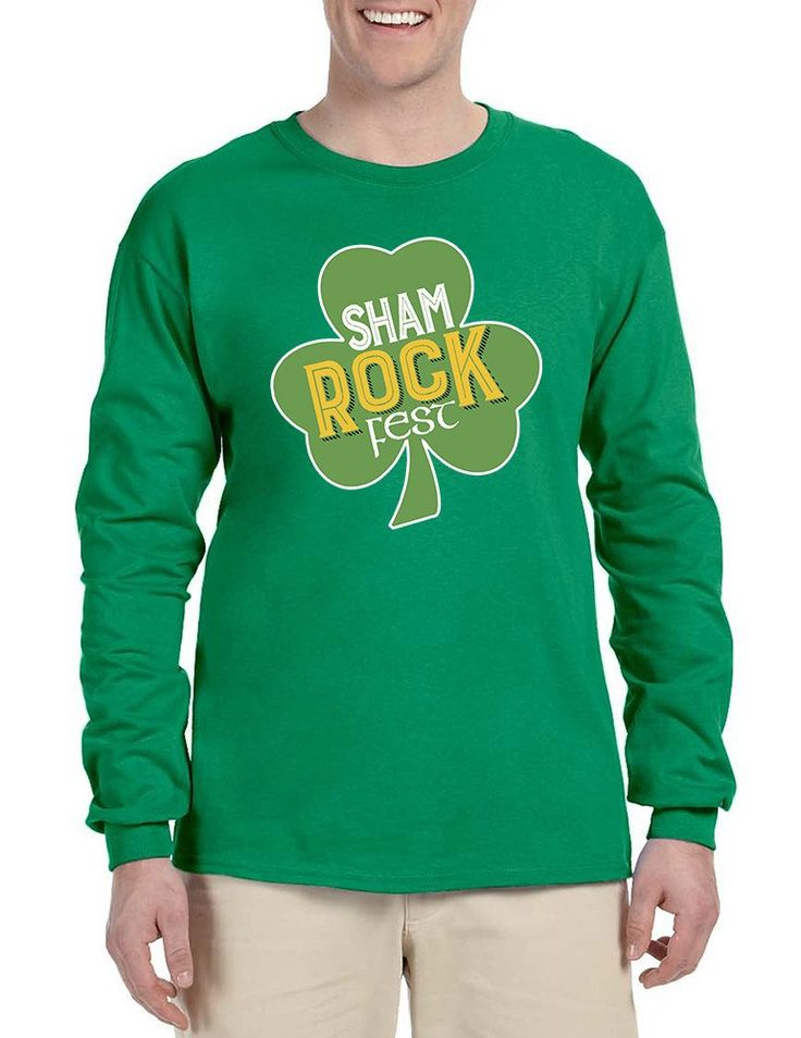 Men's Long Sleeve Shamrock Fest St Patrick's Day Party Top  #stpatricksday #longsleeve #shamrock #festivalwear #mensfashion