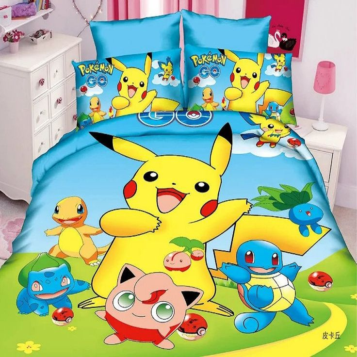 Cute Pokemon Bedding Set Suitable For Kids Bedroom Interior Decoration