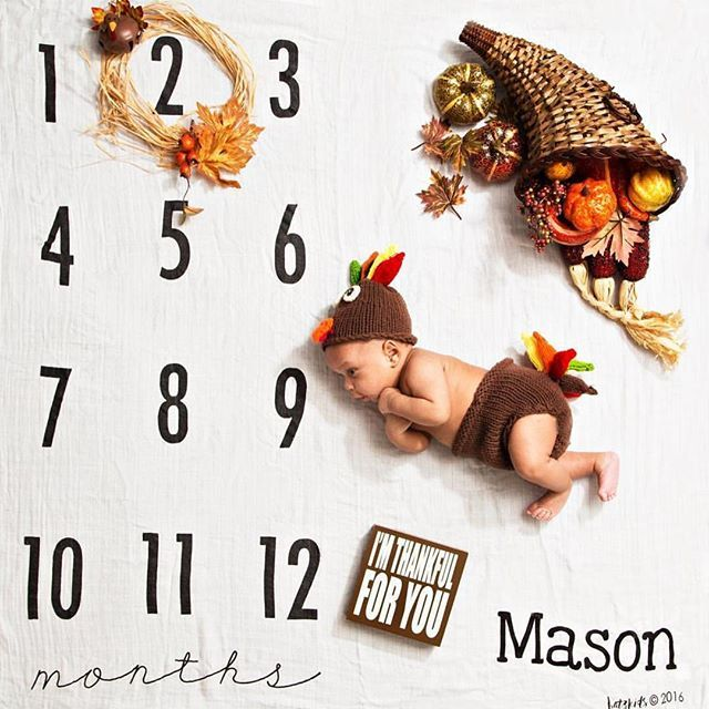 This little turkey is ready for Thanksgiving!  // on our Monthly Milestone Blanket with name personalization option!