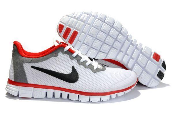Nike Free 3.0 V2 Mens Running Shoes White/Black-Varsity Red