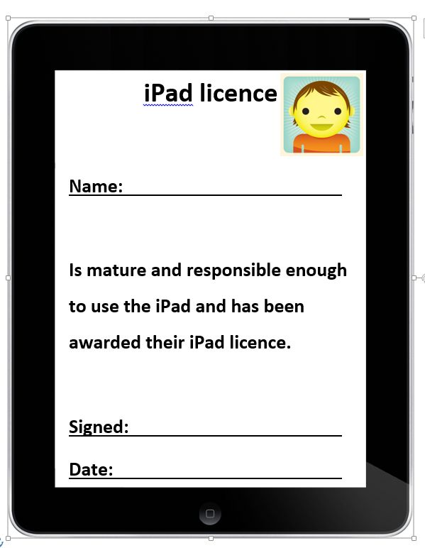 Printable iPad licence and rules for students — Edgalaxy