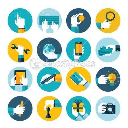Icone moderne piatto vettore raccolta della mano utilizzando dispositivi, usando i soldi, ripara, scrivere, un regalo, giocare a scacchi, toccando il touchscreen, mano in situazioni aziendali, nella progettazione e commercializzazione di processo