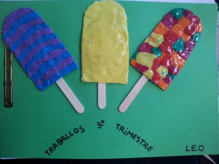 Tapa álbum 3r trimestre. Dibujar helados de diferentes gustos con texturas