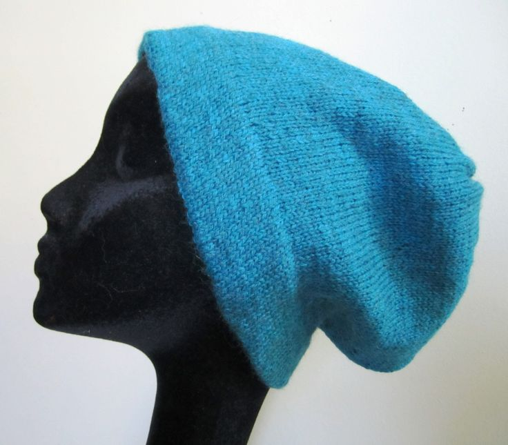 Civil War Wool Hat Cap Man's Hand Knit Slouchy Beanie Turquoise Green Blue Fisherman's- Size Large by stitchingbevy on Etsy