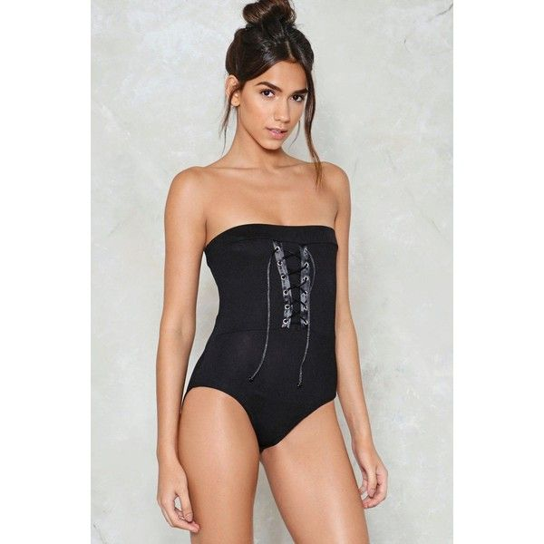 Nasty Gal Don't Speak Strapless Bodysuit ($30) ❤ liked on Polyvore featuring intimates, shapewear and black