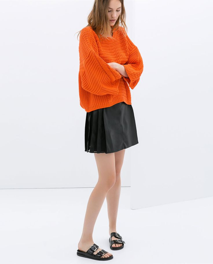 Image 1 of FAUX LEATHER SKIRT WITH BOX PLEATS from Zara