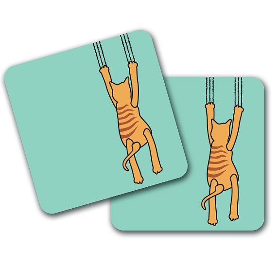 Funny Cat Claw Coasters Set of 4 by LookNFindLtd on Etsy