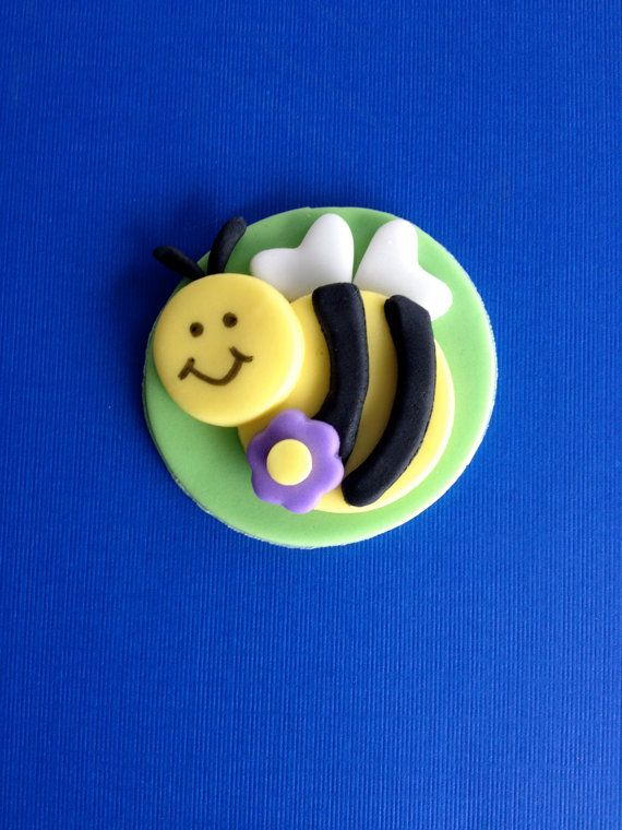 Fondant Bee Cupcake or Cookie Toppers - Set of 12