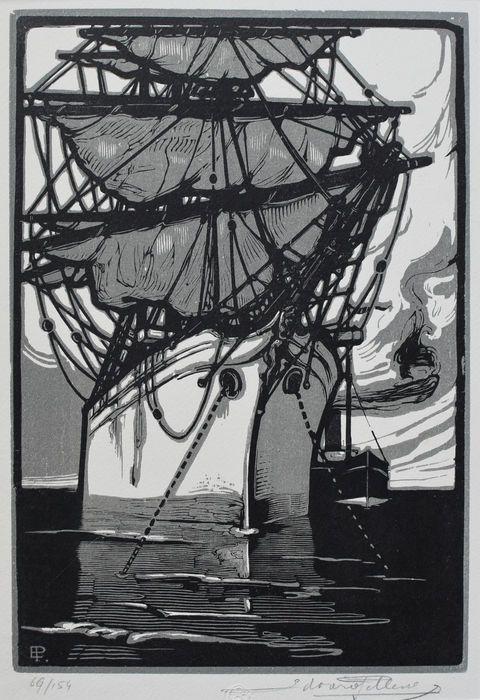 Nu in de #Catawiki veilingen: Eduard Pellens ( 1872-1942) - Zeilschip in de haven - circa 1930