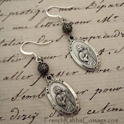 ST JUDE Medal EARRINGS St. Saint Jude by FrenchRabbitCottage1, $27.50