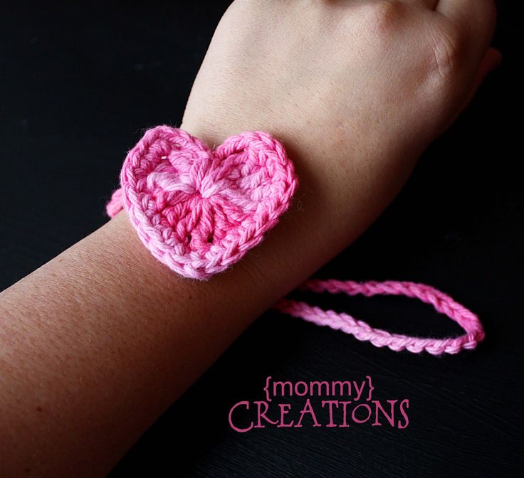 Crochet heart and a chain ~ Pull the chain loop over the heart to lock in place!