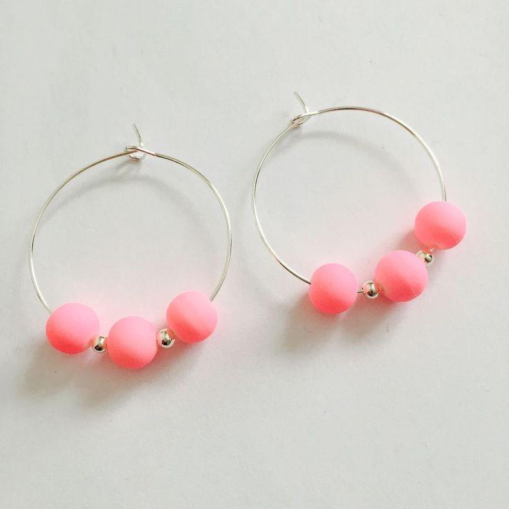 Neon Baby Pink Hoop Earrings . Festival Earrings/jewellery #Hoop