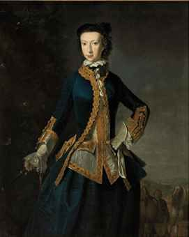 Portrait of a lady, three-quarter-length, in a blue coat and skirt, and white waistcoat, with gold embroidered trim, a whip in her right han...