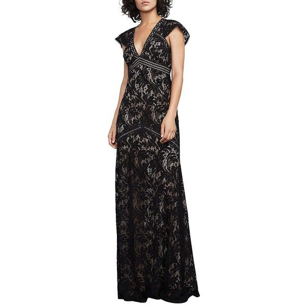 BCBGMAXAZRIA Women's Floral Lace Floor-Length Gown ($314) ❤ liked on Polyvore featuring dresses, gowns, black, floral lace gown, floral embroidered dress, floor length gowns, lace evening dresses and plunging v neck dress