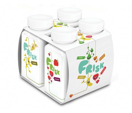 Frisk is a drinking yogurt designed for young children who don't like milk which uses bright colours and happy fruit-shaped characters to appeal to the target audience. Some of you may remember Mats' birdy juice concept, which we featured last year.