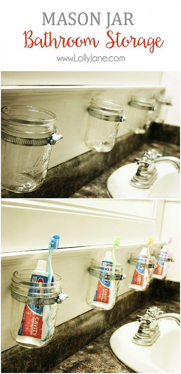 Cute DIY Mason Jar Ideas - Pretty Bathroom Storage - Fun Crafts ...